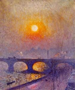 Émile Claus (1849-1924)  Sunset over Waterloo Bridge.