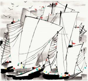 Wu Guanzhong (1919-2010)  Boats.