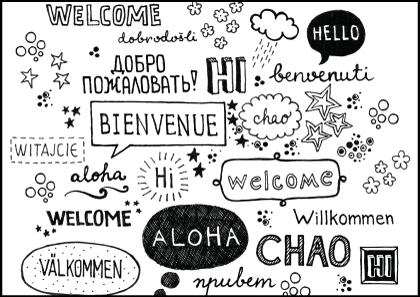 hello-written-foreign-language