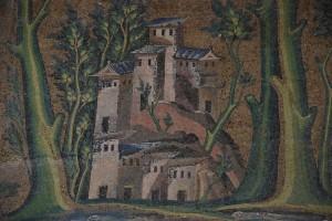ψηφιδωτό,Δαμασκός,αναπαράσταση  βυζαντινής  οικίας