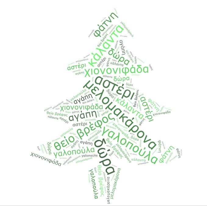 Χριστουγεννιάτικο Δέντρο, ομαδικό έργο (δημιουργήθηκε με την web 2.0 εφαρμογή tagxedo)