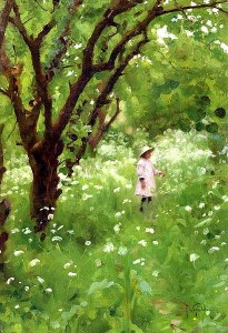 Thomas Cooper Gotch (1854-1931)  In the orchard.