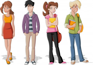 Group of four cartoon young people. Teenager students.
