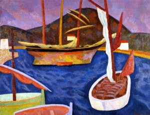 Roger Fry (1866-1934)  Boats in Harbour, South of France.26805446_1526465354138347_2145474877252703468_n