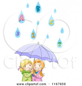 1167659-Cartoon-Of-Two-Happy-Girls-Under-An-Umbrella-With-Number-And-Letter-Rain-Drops-Royalty-Free-Vector-Clipart