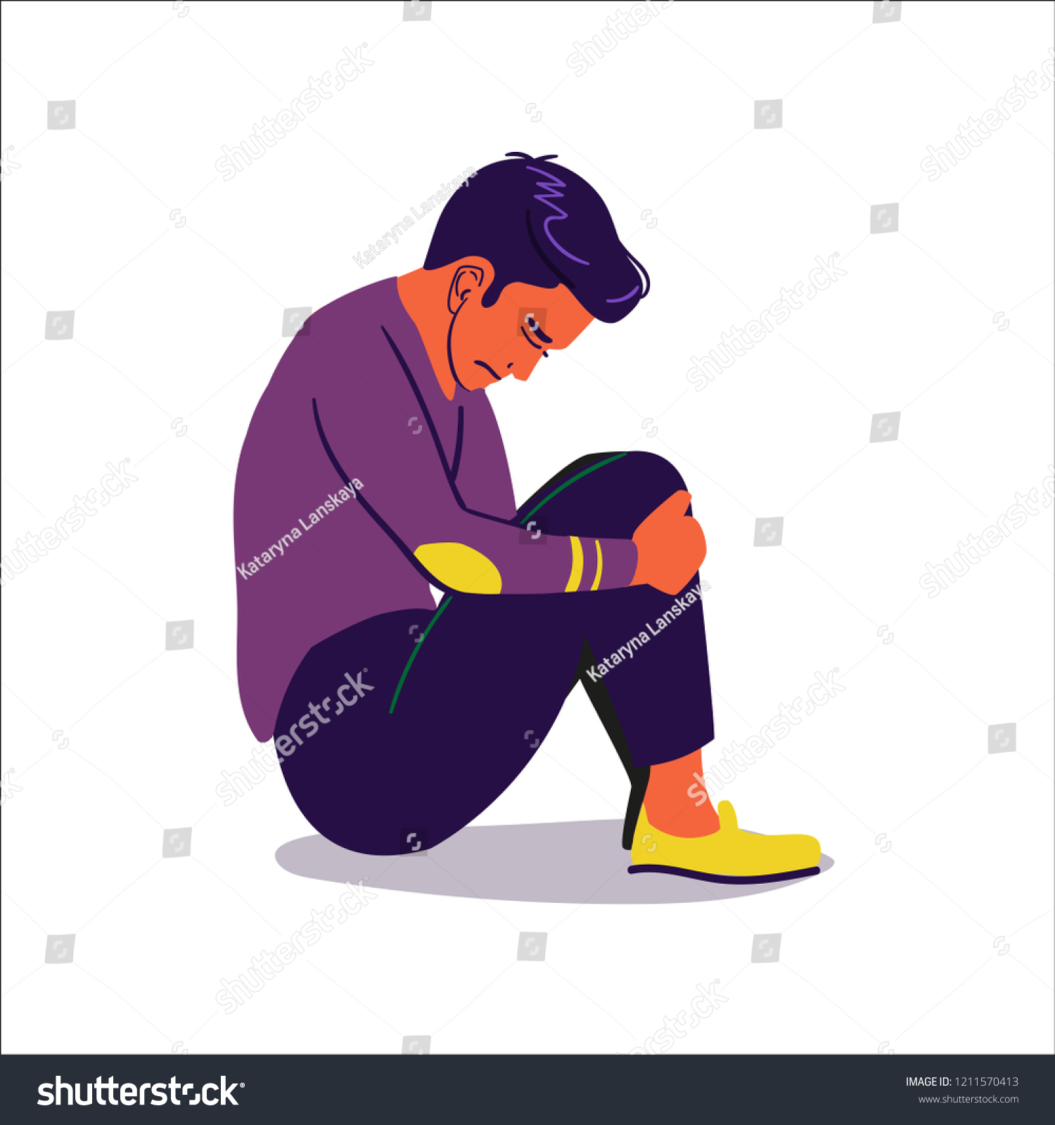 stock-vector-sad-boy-sitting-on-the-floor-illustration-of-depressed-young-man-1211570413