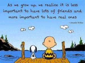 snoopy and charlie brown on dock friendship quote