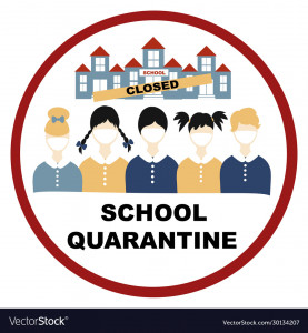 Coronavirus, Closing school, quarantine red sign, coronavirus concept Novel coronavirus 2019-nCoV, covid-19, schoolchildren in white medical face mask and the school building with the sign is closed
